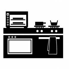 キッチン|シルエット イラストの無料ダウンロードサイト「シルエットAC」